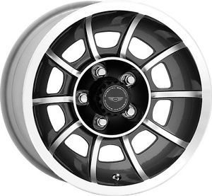 "15"" x7 American Racing Vector Black Mach 5x4 5 w 0 Et VN475765 Wheels Rims"
