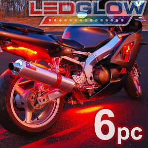 Red Motorcycle LED Neon Lighting Kit w Wireless Remote