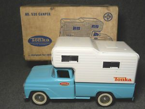 Tonka 530 Pickup Truck with camper Cap C 1962 in OB Very Nice