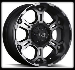 "15"" x 8"" Tuff T03 Black Rims w 30x9 5x15 BFGoodrich A T TA KO Wheels Tires"