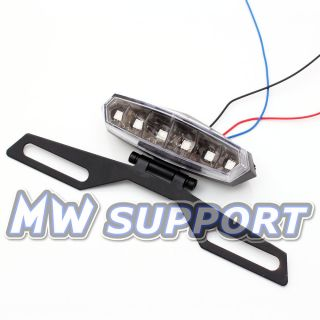 LED Tail Brake Light License Plate Bracket Adjustable Dirt Bike MX Motorcycle