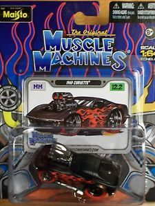 Maisto 2012 Muscle Machines 1969 Corvette Chase Car Black w Flames Red Tires