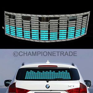 Blue Car Music Rhythm LED Flash Light Lamp Sticker Sound Equalizer Decorative