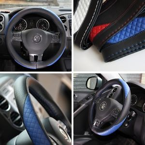 Leather Steering Wheel Wrap Cover 47012 Black Blue Hummer Fiat Car Needle Thread