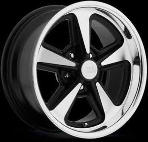 "17"" US Mag Bandit Black Wheels Rims 5x4 75 Classic Chevy Camaro GM Buick Pontiac"