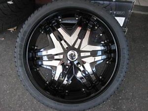 "22"" Diablo Elite Black Wheels Tires Rims 5x120 BMW 5x115 Chrysler 300 Dodge 24"