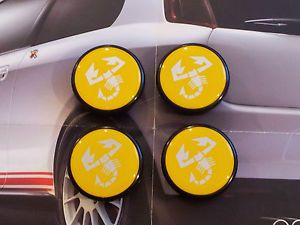 Alloy Wheels Centre Caps Abarth Cromodora Fiat Lancia Yellow 55mm Tuning