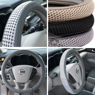 "51205 14"" 15"" 38cm Steering Wheel Cover Gray Leather Fiat BMW Audi SUV Car New"