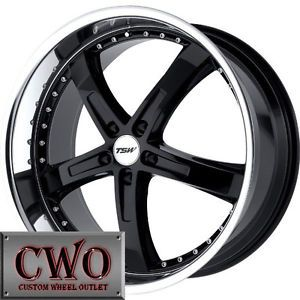 17 Black TSW Jarama Wheels Rims 5x108 5 Lug Jaguar Volvo Lincoln LS Taurus