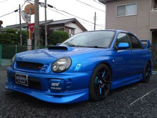 Weds SA 55m Wheel Set 19x8 Subaru WRX Black Blue 02 10
