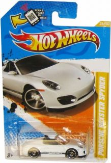 Hot Wheels White Porsche Boxster Spyder Diecast Vehicle 2012 HW Premiere 26 50