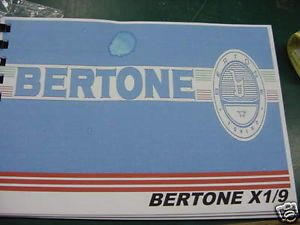 Fiat x 19 x19 Bertone Owners Manual Book 1983 1985 1987