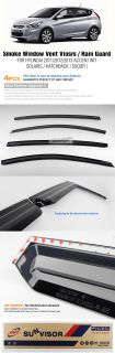 Smoke Window Vent Visors Rain Guards Fit Hyundai 2011 Solaris Accent 4 Door