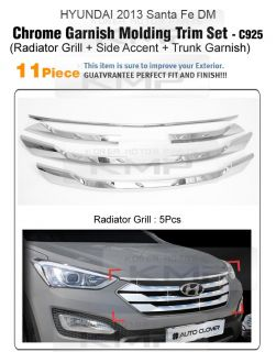 Chrome Radiator Grill Side Accent Trunk Molding C925 Fit Hyundai 2013 Santafe