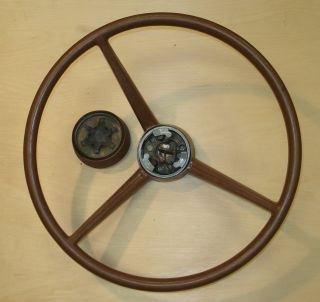 Vintage Chrysler Dodge Plymouth Mopar 3 Spoke Steering Wheel w Horn Assy