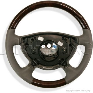 Mercedes E Class W211 W463 Walnut Wood Grey Heated Leather Steering Wheel New
