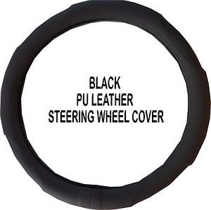 Toyota Volvo Premium PU Leather Speed Grip Solid Black Steering Wheel Cover