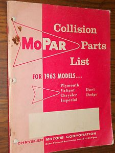 1963 Chrysler Plymouth Dodge Imperial Dart Collision Parts Catalog