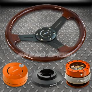NRG Wood Steering Wheel Hub Orange Quick Release Lock Kit 91 98 BMW E36 M3 325