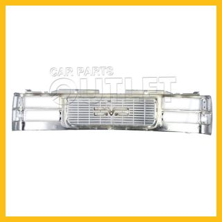 1994 1998 GMC Sierra Pickup Front Grille Complete Chrome Plated Plastic Suburban