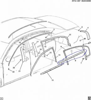 Buick Lucerne Passenger Right Rear Window Outer Belt Reveal Molding 06 11 Back