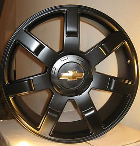 "24 Chevy Tahoe Silverado GMC Yukon Wheels Rims Fit 2007 2013 22"" Gloss Black"