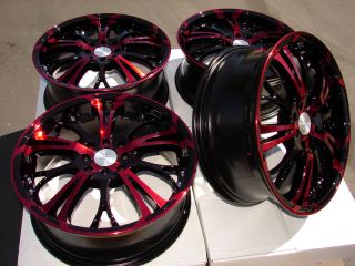 "17"" Red Wheels Rims 4x100 Accord Sonata XC250 galant Jetta Passat Golf Yaris CRX"