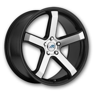 "20"" 2CRAVE Mach M5 Black Mach Wheel Rims Tires Fittoyota Nissan Honda Chevy Kia"