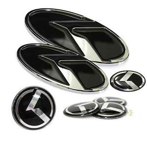 K Logo Emblem Badge 7pc Set Front Rear Steering Wheel Caps for Kia Optima K5