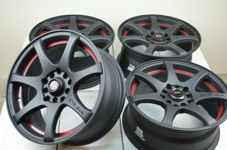 15 Matt Black Red Rim Wheel Kia Soul Optima Hyundai Elantra Tiburon Toyota Prius