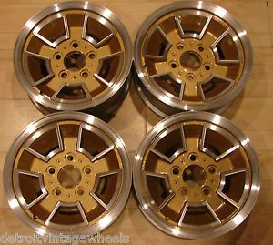 "14"" Oldsmobile 442 Gold Hurst Cutlass Aluminum Factory Wheels Caps Lugnuts"
