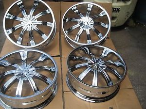 "24"" KMC Widow KM672 Chrome Wheels Universal Wheels MHT FOOSE Dub XD Series U2"