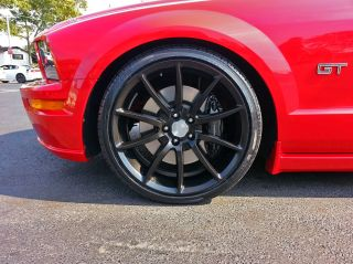 "2005 2013 2014 Ford Mustang GT500 Satin Black 20"" Wheels Staggered Black Mamba"