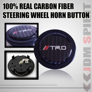 Universal Toyota TRD JDM Real Carbon Fiber Steering Wheel Trumpet Horn Button