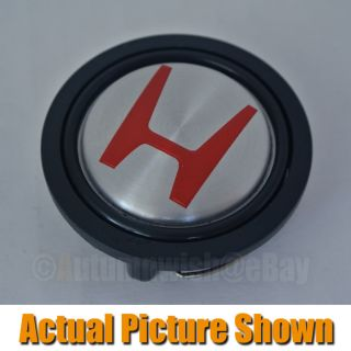 Acura Honda Silver Red Aftermarket Steering Wheel Horn Button Type JDM