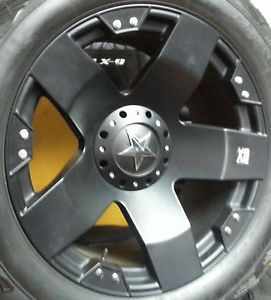 "24x12"" KMC Rockstar XD Black Wheels Rims 8x6 5 8 Lug GM Dodge Chevy"