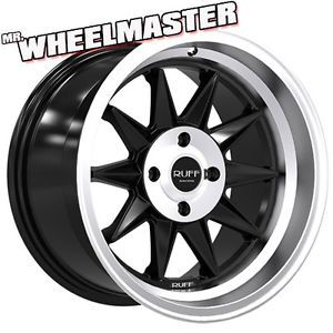 4 15 inch Wheels Ruff Racing 358 Rims 15x8 5 4x100 17 Satin Black Machine Lip