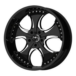 "4X 20"" KMC Venom Black Chrome 20x8 5 Wheels Rims"