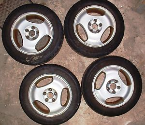 "Four 4 15"" 3 Spoke Alloy Wheels with Tires for '97 Saab Used Pick Up Only"