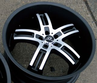 "Lorenzo WL026 22"" Black Rims Wheels Nissan Maxima Staggered"