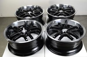 18 5x114 3 5x100 Black Wheels Veracruz Saleen S302 Sable Forester WRX 5 Lug Rims