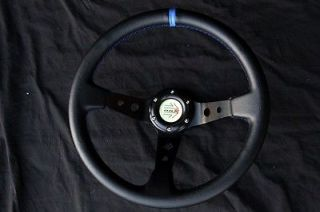 Accord CD Prelude BB2 350mm Deep Racing Leather Steering Wheel Quick Release Hub