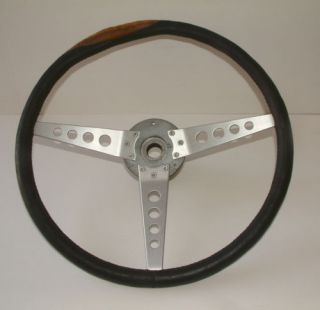 Vintage Jaguar XK 120 Racing Steering Wheel Aluminum 3 Spoke Leather Wrapped