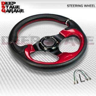 Universal Aluminum 320mm Racing Steering Wheel Black w Red Stitching and Accent