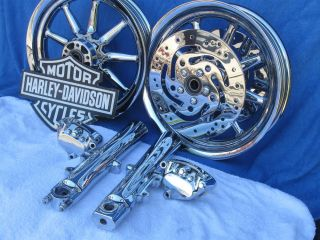 Harley Chrome 9 Spoke Touring Wheels Road King Street Electra Glide FLH Ultra