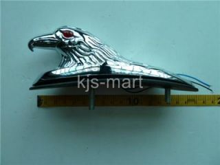 New Chrome Metal Eagle Ornament w Red LED Eye for Motorcycle Front Fender