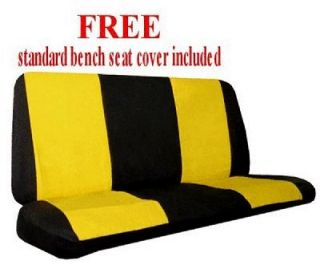 Dragon Yellow Black Synthetic Leather Car Truck SUV Seat Covers & Floor Mats #D
