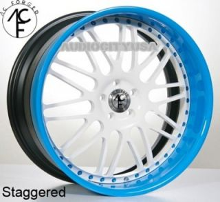 "22"" AC Forged AC311 WT Blue Wheels and Tires Rims for BMW 3 5 6 7SERIES Mercedes"
