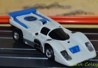 Aurora AFX Ferrari 512 White Blue Open Vent Mean Green Motor HO Slot Car