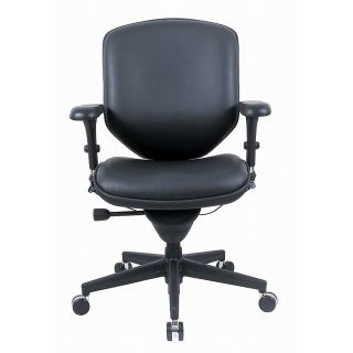 Realspace PRO Quantum Mid Back Leather Task Chair 40 12 H x 30 310 W x 26 12 D Black Frame Black Leather